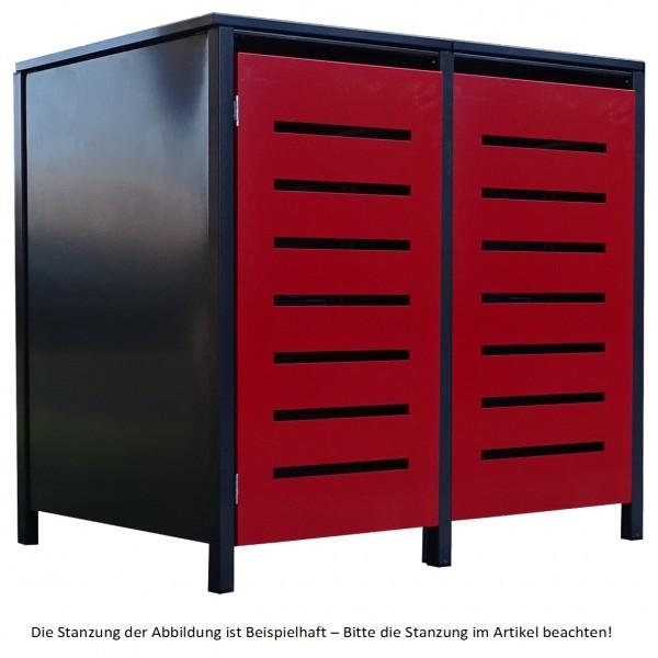 2 Tailor Mülltonnenboxen Basic für 240 Liter Tonne Stanz.3 Anthrazit / Front Rot