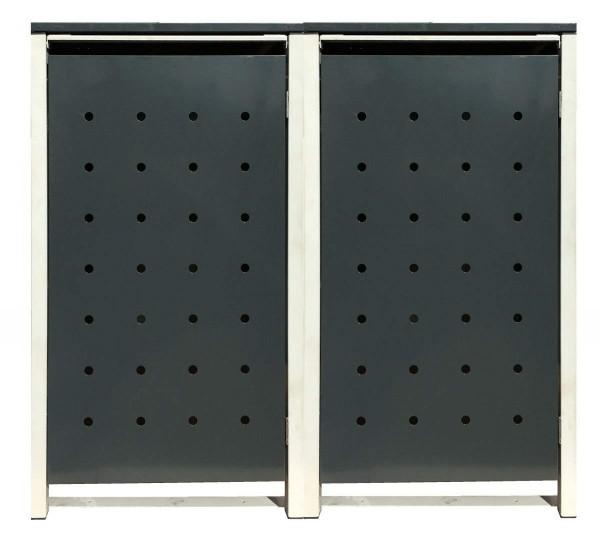 2 Tailor Mülltonnenboxen Basic für 120 Liter Tonne /Stanzung 1 /Anthrazit / Grau