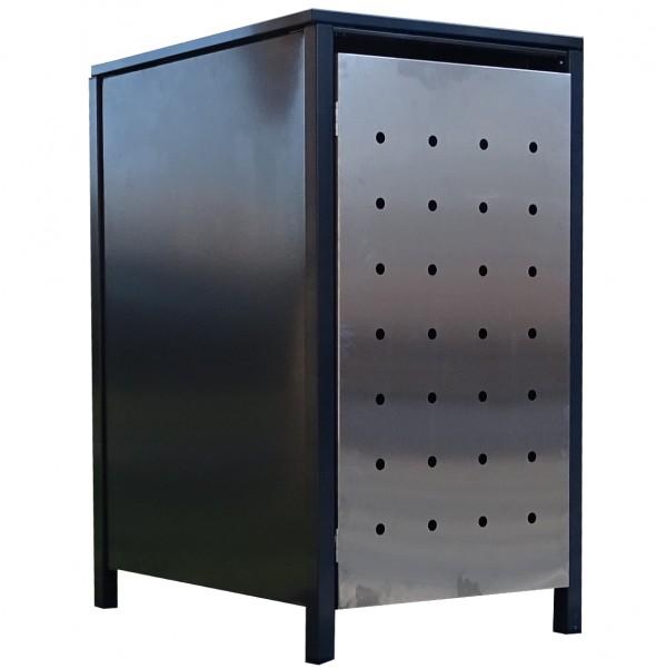 1x Premium 120 Liter Tailor Mülltonnenboxen Stanzung 1 Anthrazit Tür-Edelstahl