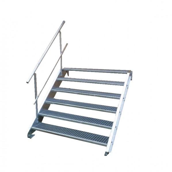 Stahltreppe 6 Stufen-Breite 150cm Variable-Höhe 90-120cm mit einseit. Geländer