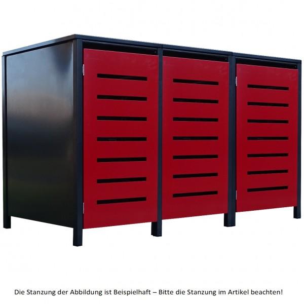 3 Tailor Mülltonnenboxen Basic für 120 Liter Tonne Stanz.7 Anthrazit / Front Rot