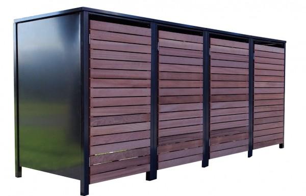 4 Premium Tailor-Mülltonnenboxen für 120 Liter Tonnen Anthrazit / Front-Edelholz