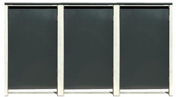 3 Tailor Mülltonnenboxen Basic für 240 Liter Tonne /o.Stanzung /Anthrazit / Grau