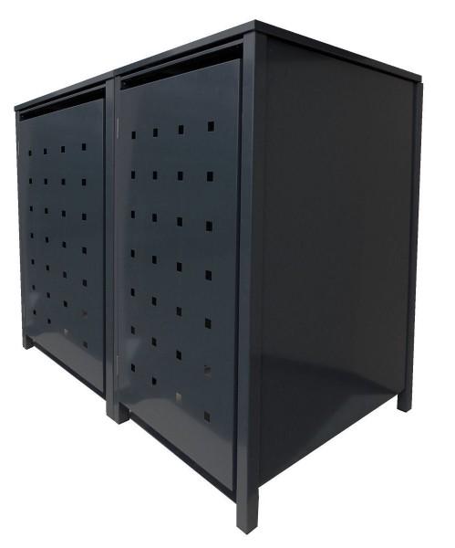 2 Tailor Mülltonnenboxen Basic für 120 Liter Tonnen o.Stanzung komplett Schwarz