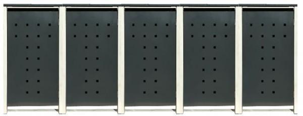 5 Tailor Mülltonnenboxen Basic für 240 Liter Tonne /Stanzung 7 /Anthrazit / Grau