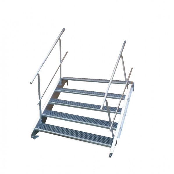 Stahltreppe 5 Stufen-Breite 140cm Variable-Höhe 70-105cm beidseit. Geländer