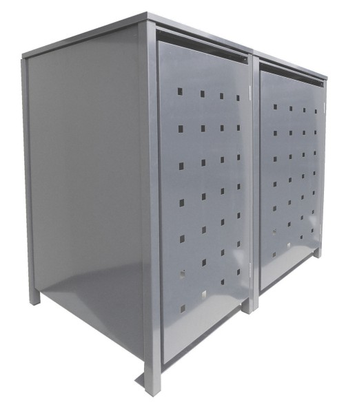 2 Tailor Mülltonnenboxen Basic für 240 Liter Tonnen Stanzung 2 kompl. Silbergrau