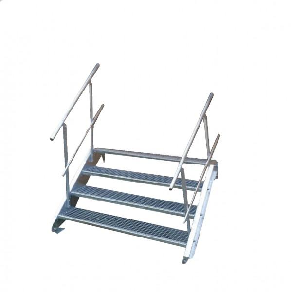 Stahltreppe 4 Stufen-Breite 60cm Variable-Höhe 55-85cm beidseit. Geländer