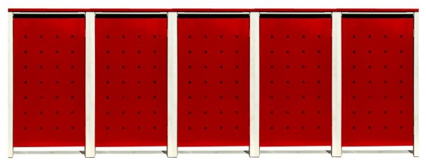 5 Tailor Mülltonnenboxen Basic für 120 Liter Tonnen / Stanzung 1 / Rot / Grau