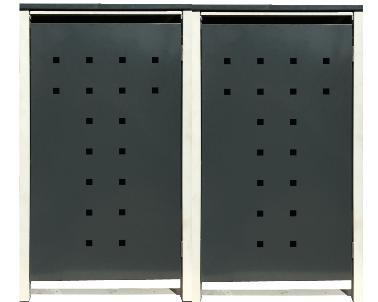 2 Tailor Mülltonnenboxen Basic für 120 Liter Tonne /Stanzung 7 /Anthrazit / Grau