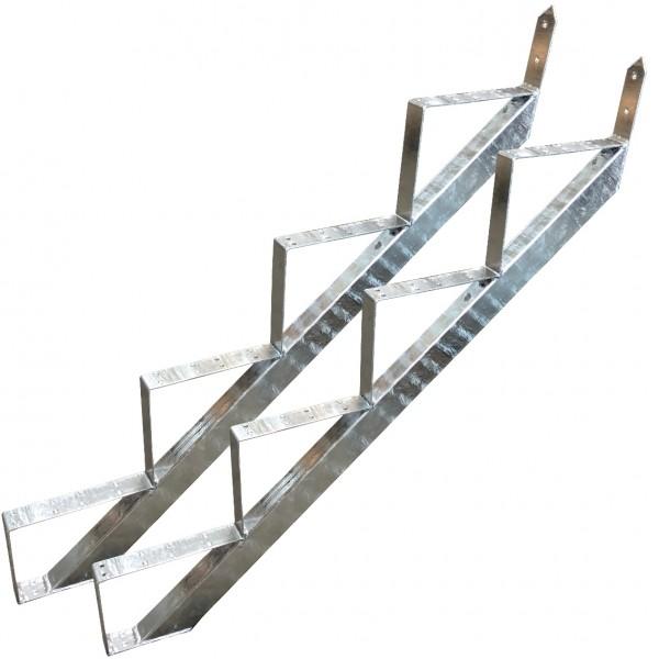 4 Stufen Treppenrahmen Stahl-Treppe Treppenholm Geschosshöhe 72cm Verzinkt