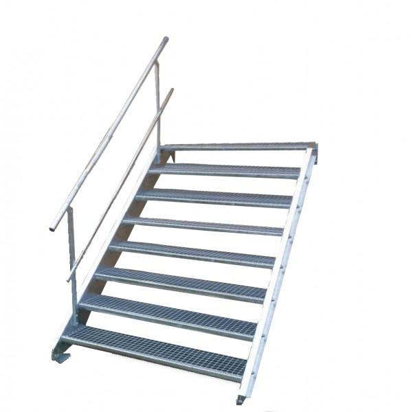 Stahltreppe 8 Stufen-Breite 120cm Variable-Höhe 120-160cm mit einseit. Geländer