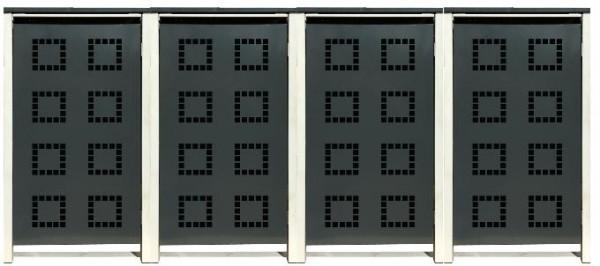 4 Tailor Mülltonnenboxen Basic für 240 Liter Tonne /Stanzung 5 /Anthrazit / Grau