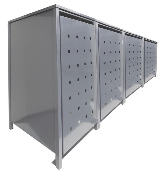 4 Tailor Mülltonnenboxen Basic für 240 Liter Tonnen Stanzung 2 kompl. Silbergrau