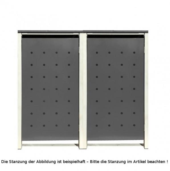 2 Tailor Mülltonnenboxen Basic für 120 Liter Tonnen Stanzung 3 Silbergrau / Grau