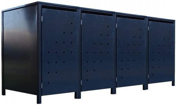 4 Tailor Mülltonnenboxen Basic für 120 Liter Tonne Stanzung 4 komplett Anthrazit