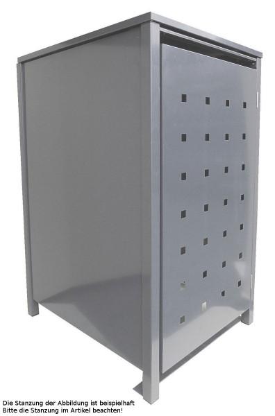 1 Tailor Mülltonnenbox Basic für 120 Liter Tonne Stanzung 1 kompl. Silbergrau