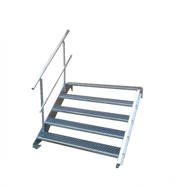 Stahltreppe 5 Stufen-Breite 80cm Variable-Höhe 70-105cm mit einseit. Geländer