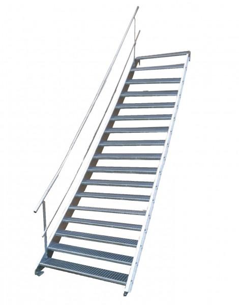 Stahltreppe 17 Stufen-Breite 140cm Variable-Höhe 282-350cm mit einseit. Geländer