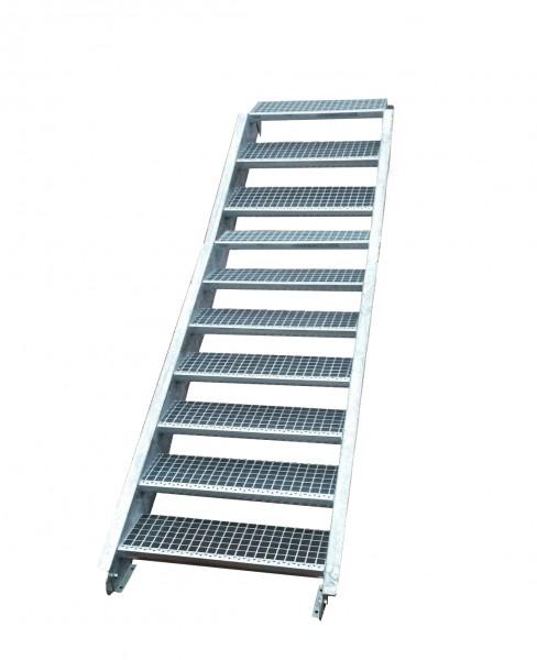 Stahltreppe Treppe 10 Stufen-Stufenbreite 160cm /Geschosshöhe 150-200cm verzinkt