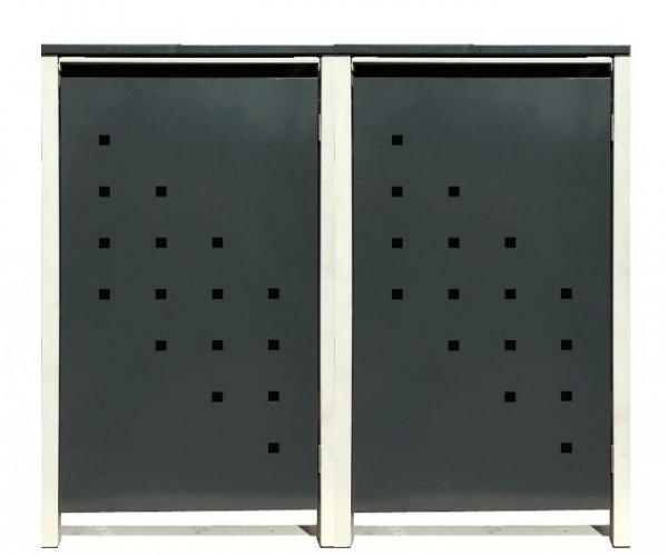 2 Tailor Mülltonnenboxen Basic für 240 Liter Tonne /Stanzung 3 /Anthrazit / Grau