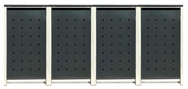 4 Tailor Mülltonnenboxen Basic für 240 Liter Tonne /Stanzung 1 /Anthrazit / Grau