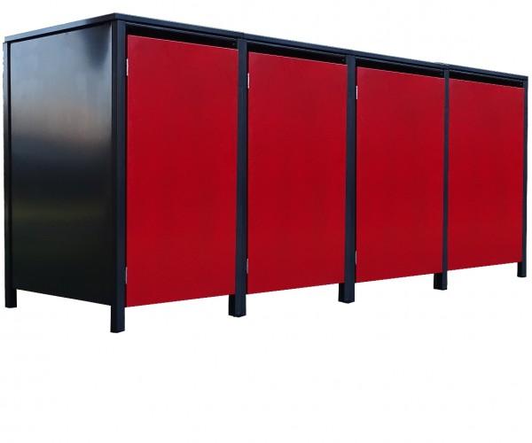 4 Tailor Mülltonnenboxen Basic für 120 L Tonne o.Stanzung Anthrazit / Front Rot