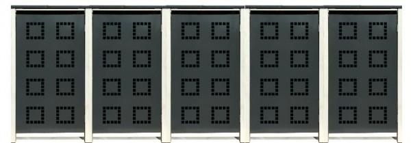 5 Tailor Mülltonnenboxen Basic für 120 Liter Tonne /Stanzung 5 /Anthrazit / Grau
