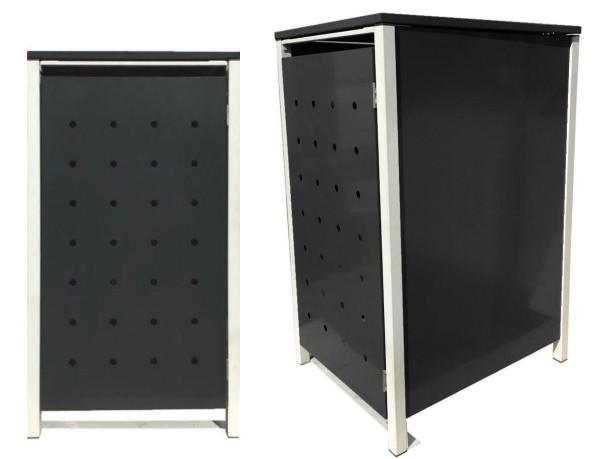 1 Tailor Mülltonnenbox Basic für 240 Liter Tonne /Stanzung 1 /Schwarz / Grau