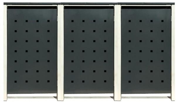 3 Tailor Mülltonnenboxen Basic für 120 Liter Tonne /Stanzung 2 /Anthrazit / Grau
