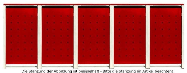 5 Tailor Mülltonnenboxen Basic für 240 Liter Tonnen / Stanzung 2 / Rot / Grau