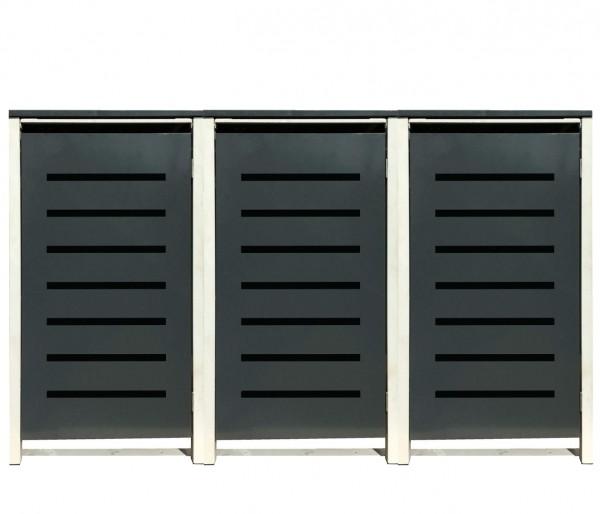 3 Tailor Mülltonnenboxen Basic für 240 Liter Tonne /Stanzung 6 /Anthrazit / Grau