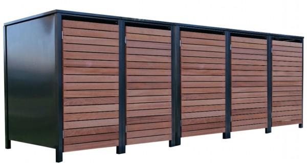 5 Premium Tailor-Mülltonnenboxen für 120 Liter Tonnen Anthrazit / Front-Edelholz