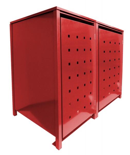 2 Tailor MüllTonnennboxen Basic für 120 Liter Tonnen Stanzung 2 komplett in Rot