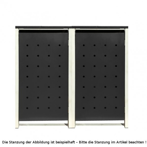 2 Tailor Mülltonnenboxen Basic für 240 Liter Tonnen /Stanzung 2 /Schwarz / Grau