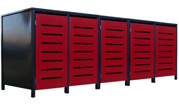 5 Tailor Mülltonnenboxen Basic für 240 Liter Tonne Stanz.6 Anthrazit / Front Rot