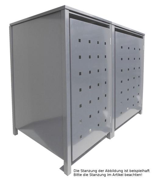 2 Tailor Mülltonnenboxen Basic für 240 Liter Tonnen Stanzung 6 kompl. Silbergrau