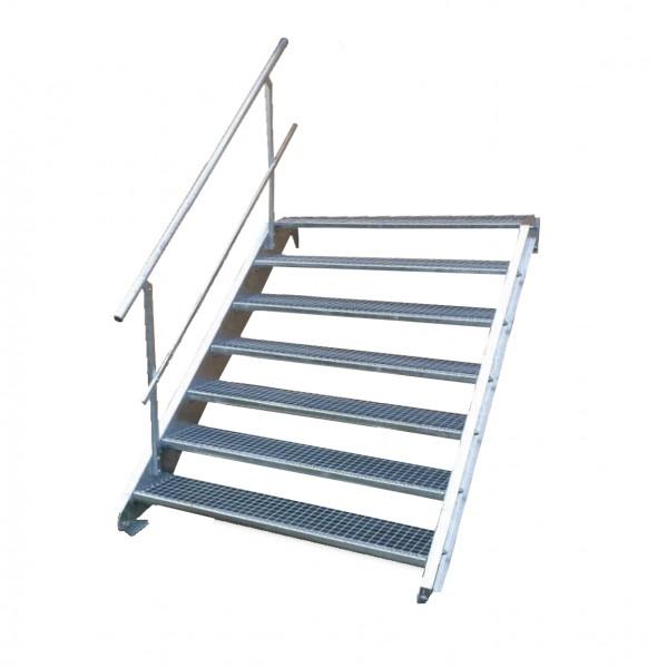 Stahltreppe 7 Stufen-Breite 90cm Variable-Höhe 100-140cm mit einseit. Geländer