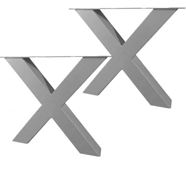 2 Tischgestelle Gestell Breite: 69cm Höhe: 72cm Tischkreuz Stahl Silber