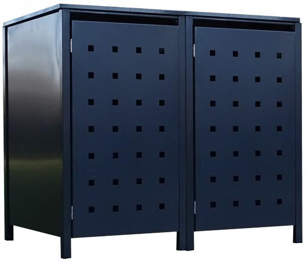 2 Tailor Mülltonnenboxen Basic für 120 Liter Tonne Stanzung 2 komplett Anthrazit
