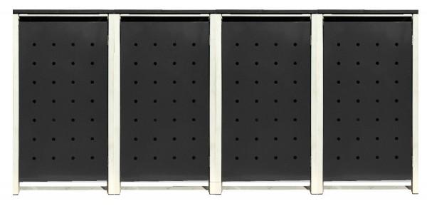 4 Tailor Mülltonnenboxen Basic für 240 Liter Tonnen /Stanzung 1 /Schwarz / Grau