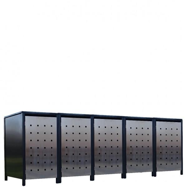 5x Premium 240 Liter Tailor Mülltonnenboxen Stanzung 2 Anthrazit Tür-Edelstahl