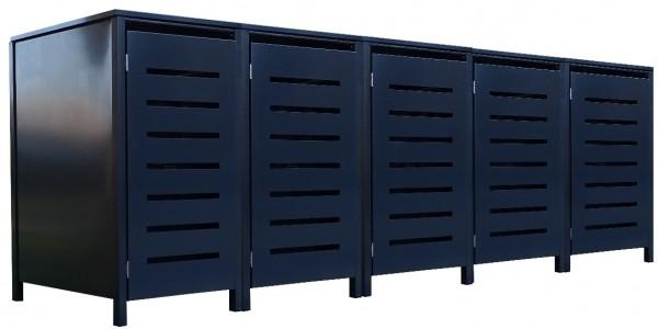 5 Tailor Mülltonnenboxen Basic für 120 Liter Tonne Stanzung 6 komplett Anthrazit