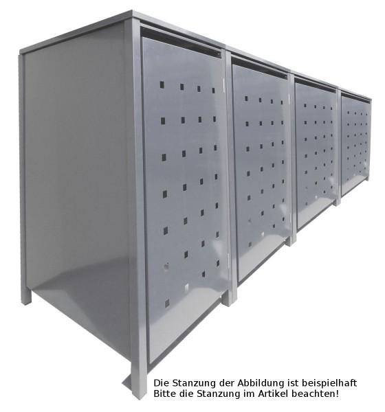 4 Tailor Mülltonnenboxen Basic für 120 Liter Tonnen Stanzung 6 kompl. Silbergrau