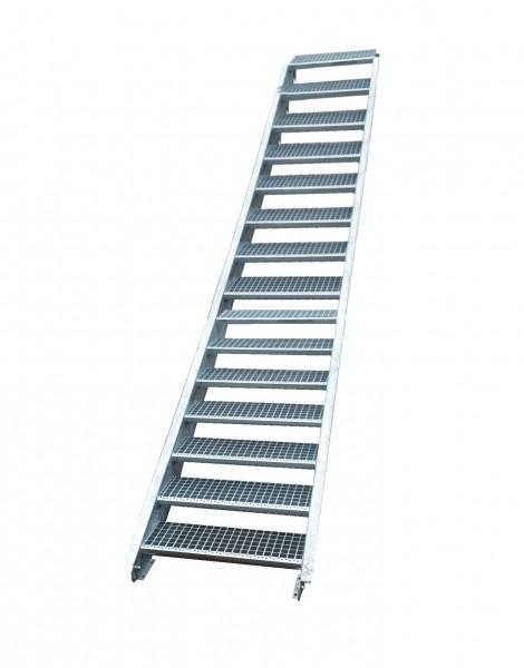 Stahltreppe Treppe 17 Stufen-Stufenbreite 130cm /Geschosshöhe 282-350cm verzinkt