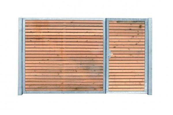 Einfahrtstor Verzinkt Garten Holz-Tor quer Asymmetrisch 2-Flügeltor 300cmx160cm