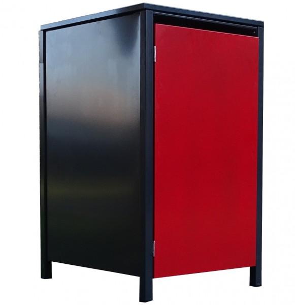 1 Tailor Mülltonnenbox Basic für 120 L Tonne o.Stanzung Anthrazit / Front Rot