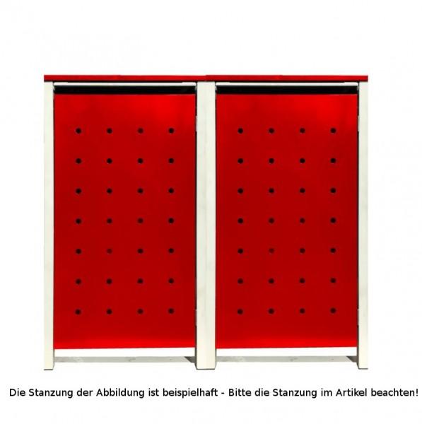 2 Tailor Mülltonnenboxen Basic für 240 Liter Tonnen / Stanzung 3 / Rot / Grau