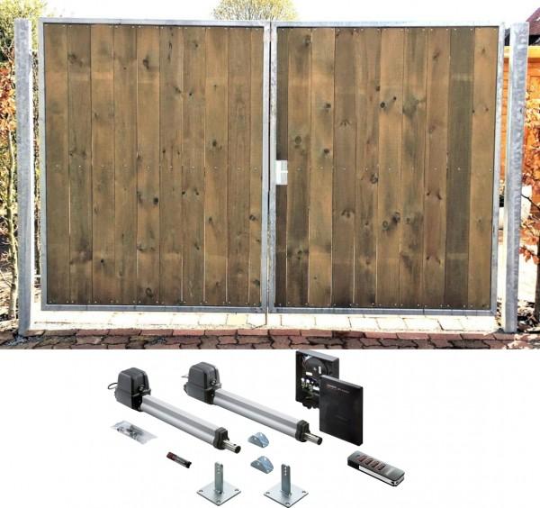 Einfahrtstor Verzinkt Holz Tor Senkrecht Sym. 2-flügelig Elektro 300cm x 180cm