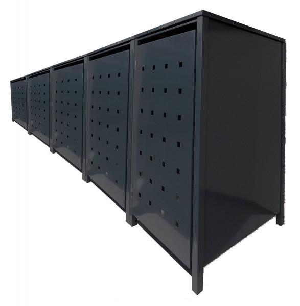 5 Tailor Mülltonnenboxen Basic für 120 Liter Tonnen Stanzung 3 komplett Schwarz